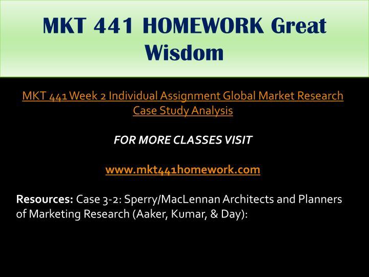 MKT 441 HOMEWORK Great