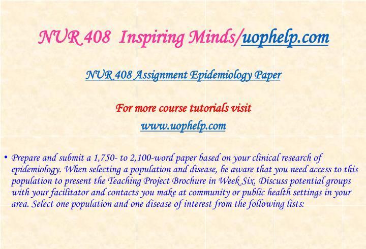 NUR 408  Inspiring Minds/