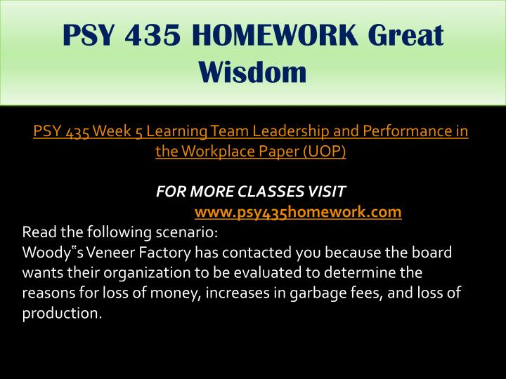 PSY 435 HOMEWORK Great