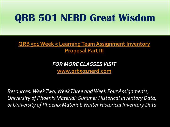 QRB 501 NERD Great