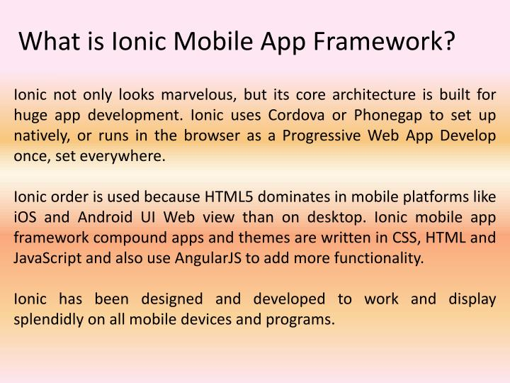 What is ionic mobile app framework