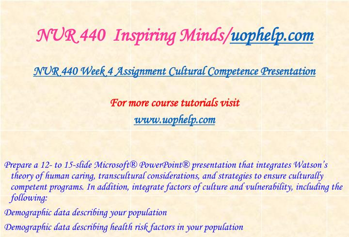NUR 440  Inspiring Minds/