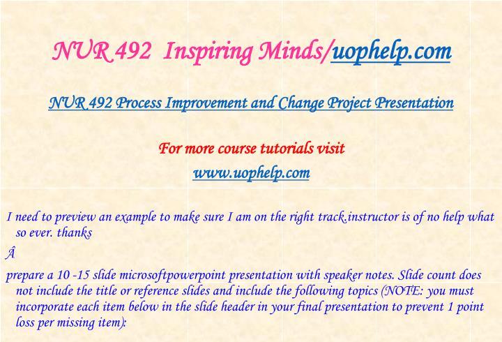 NUR 492  Inspiring Minds/