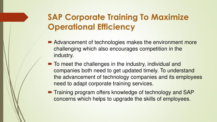 SAP Corporate Training To Maximize Operational Efficiency