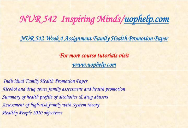 NUR 542  Inspiring Minds/