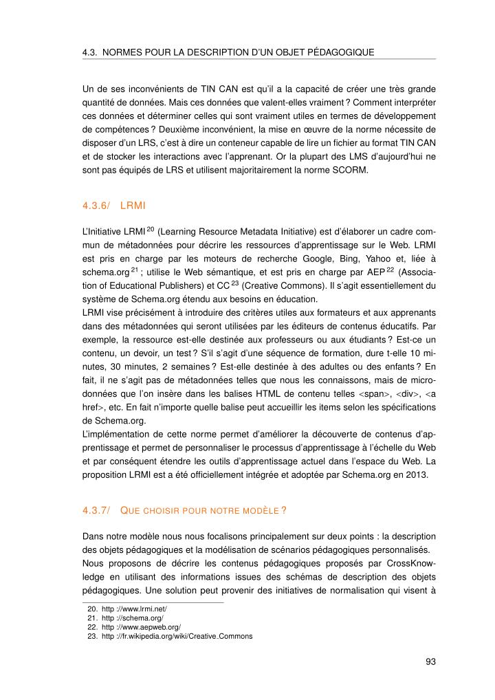 4.3. NORMES POUR LA DESCRIPTION D'UN OBJET P´EDAGOGIQUE