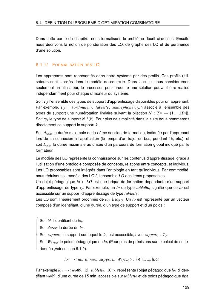 6.1. D´EFINITION DU PROBL`EME D'OPTIMISATION COMBINATOIRE
