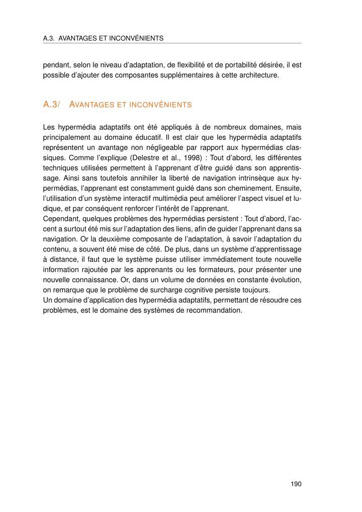 A.3. AVANTAGES ET INCONV´ENIENTS