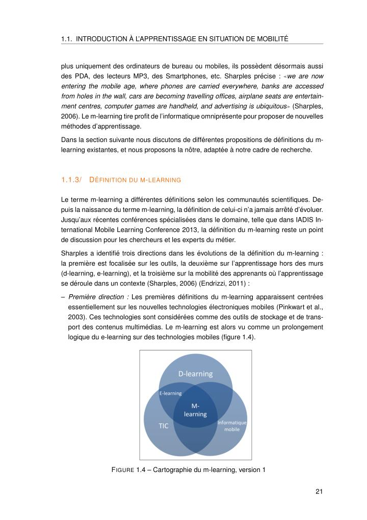 1.1. INTRODUCTION`A L'APPRENTISSAGE EN SITUATION DE MOBILIT´E