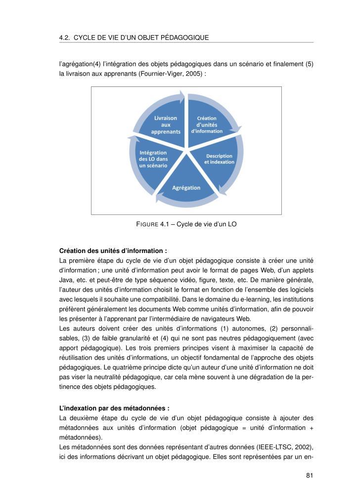 4.2. CYCLE DE VIE D'UN OBJET P´EDAGOGIQUE