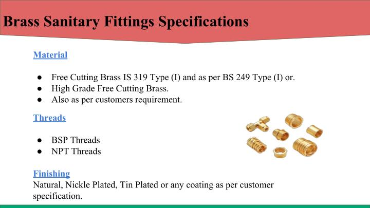 Brass Sanitary Fittings Specifications