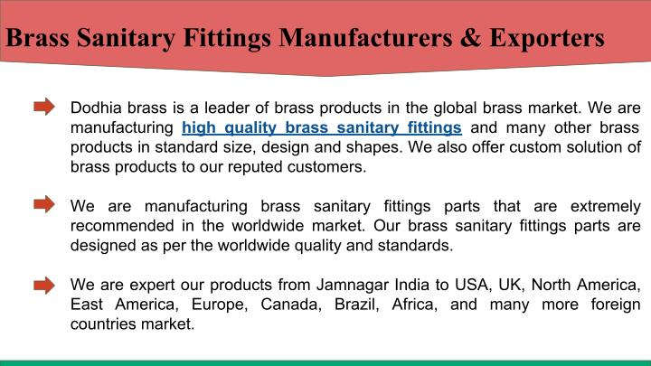 Brass Sanitary Fittings Manufacturers & Exporters