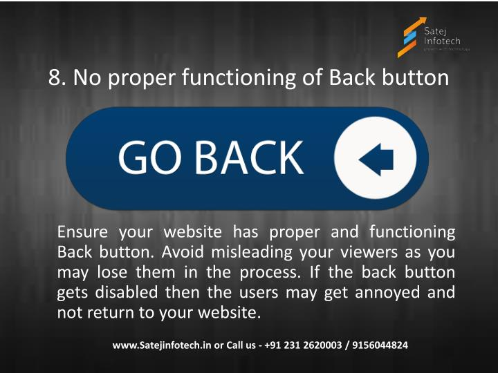 8. No proper functioning of Back button