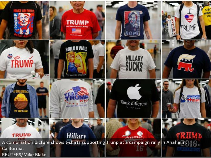 A blend picture indicates shirts supporting Trunp at a crusade rally in Anaheim, California.  REUTERS/Mike Blake