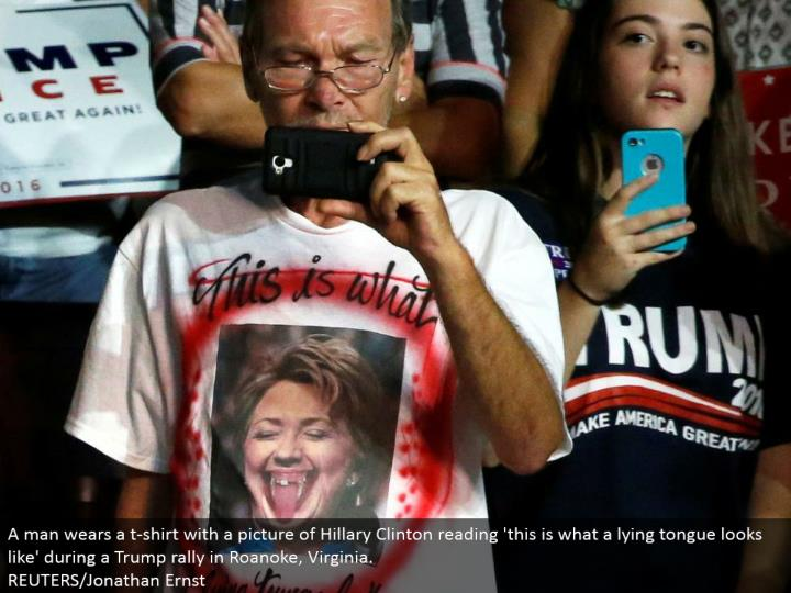 A man wears a shirt with a photo of Hillary Clinton perusing 'this is the thing that a lying tongue resembles' amid a Trump rally in Roanoke, Virginia.  REUTERS/Jonathan Ernst
