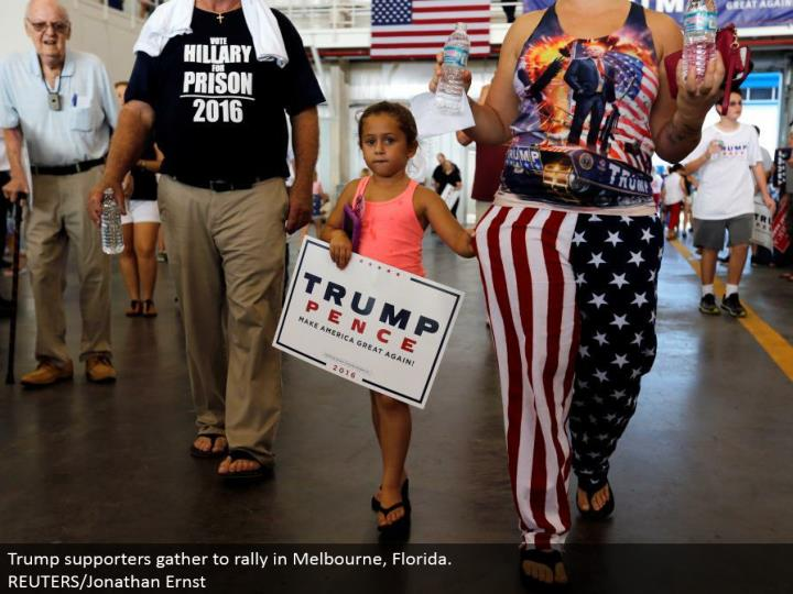 Trump supporters accumulate to rally in Melbourne, Florida.  REUTERS/Jonathan Ernst