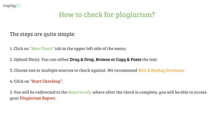 How to check for plagiarism?