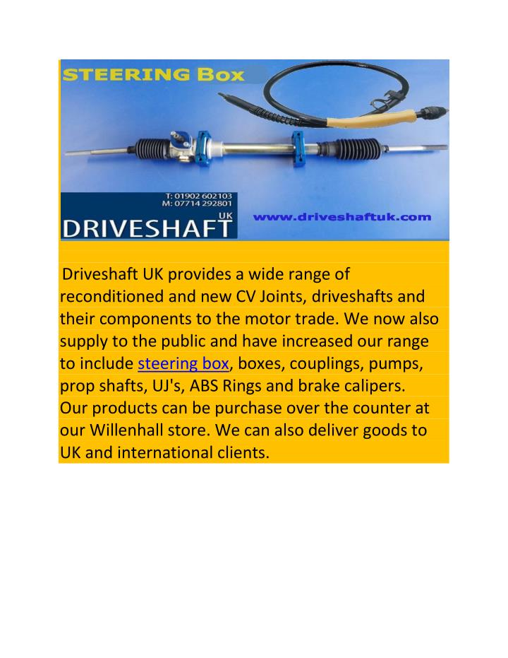 Driveshaft UK provides a wide range of