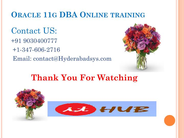 Oracle 11g DBA Online training