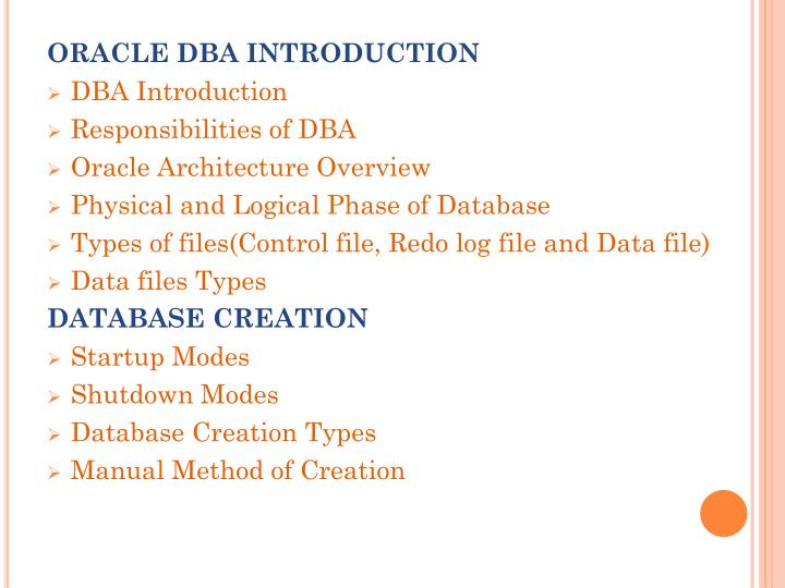 ORACLE DBA INTRODUCTION