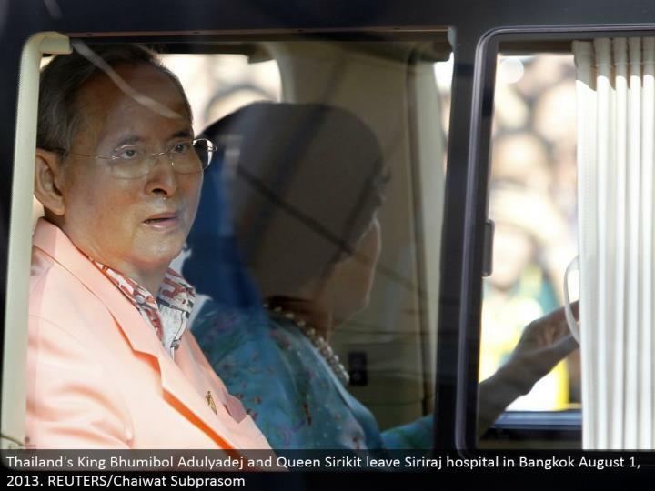 Thailand's King Bhumibol Adulyadej and Queen Sirikit leave Siriraj doctor's facility in Bangkok August 1, 2013. REUTERS/Chaiwat Subprasom
