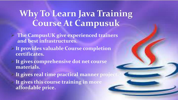 Why to learn java training course at campusuk