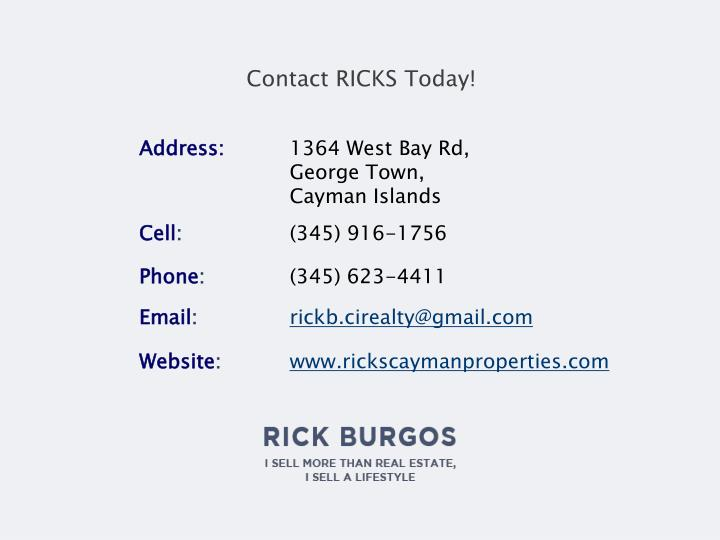 Contact RICKS Today!