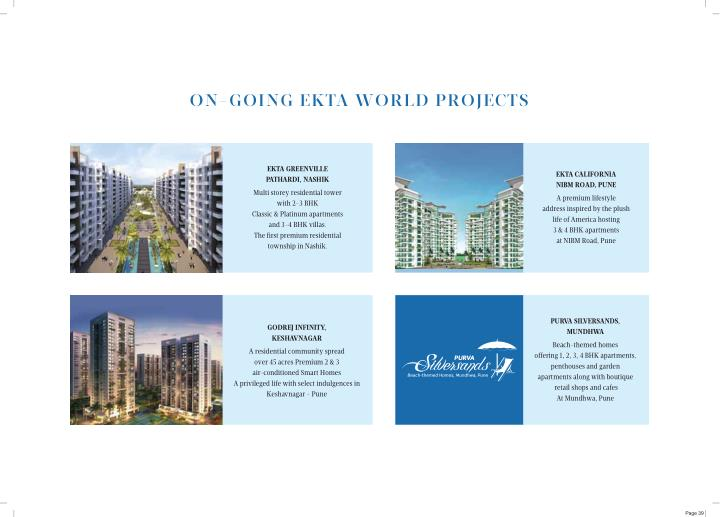 ON-GOING EKTA WORLD PROJECTS