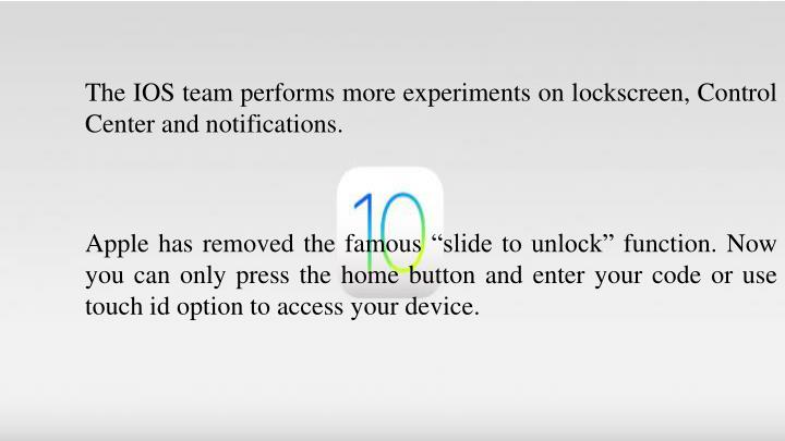 The IOS team performs more experiments on lockscreen, Control Center and notifications.