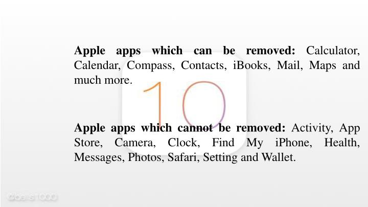 Apple apps which can be removed: