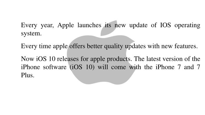 Every year, Apple launches its new update of IOS operating system.