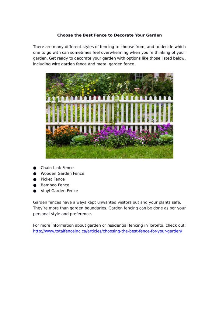 Choose the Best Fence to Decorate Your Garden
