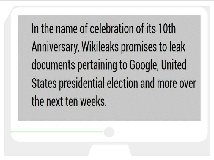Wikileaks promises to publish leaks on us election arms trade and google cr risk advisory