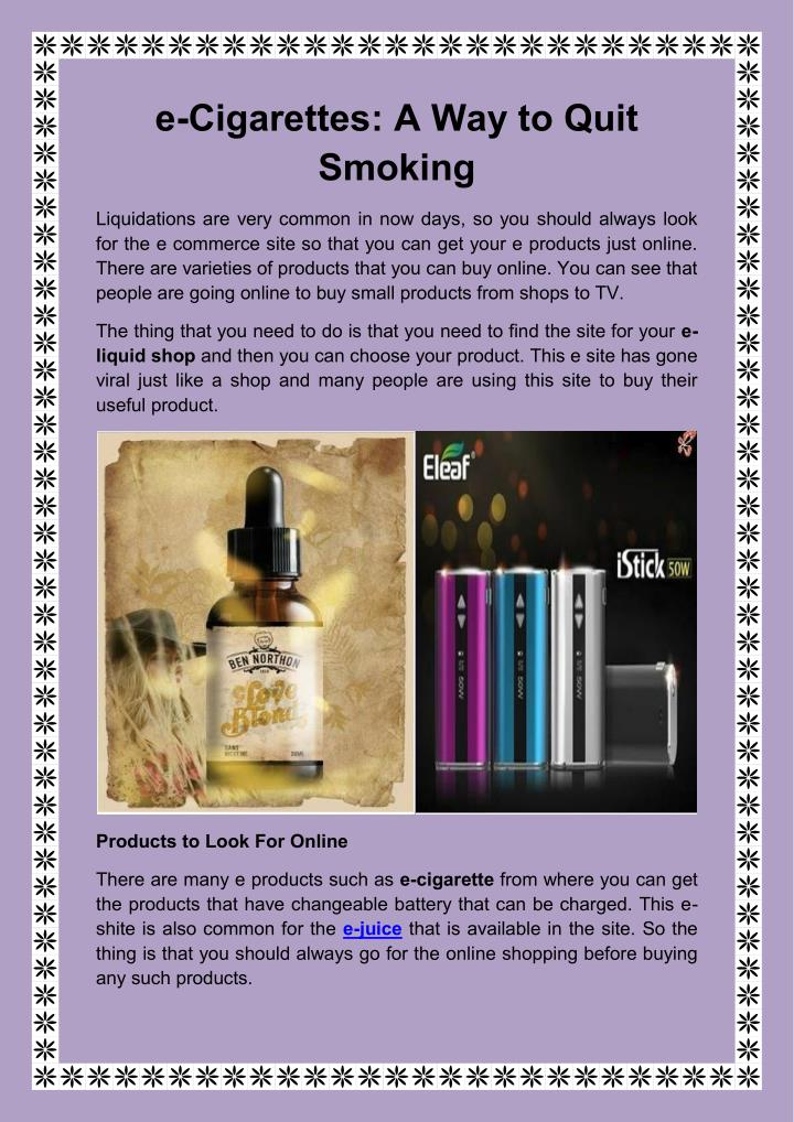 E-Cigarettes: A Way to Quit