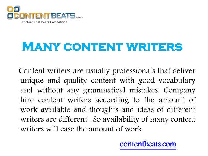 Many content writers