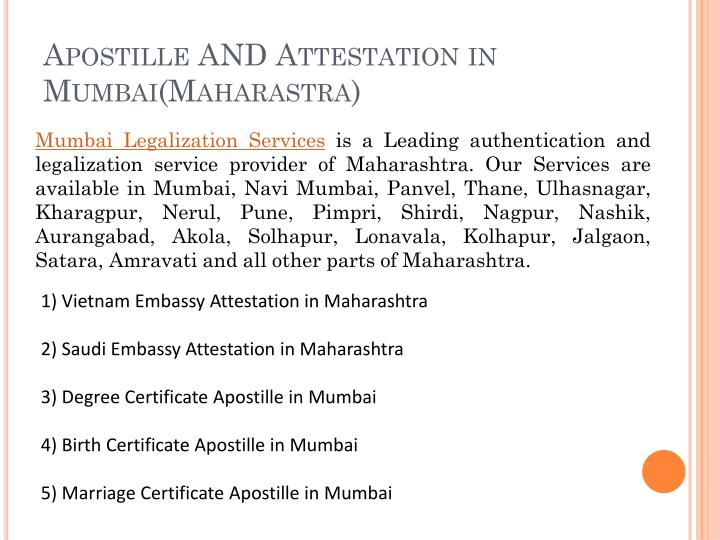 Apostille and attestation in mumbai maharastra
