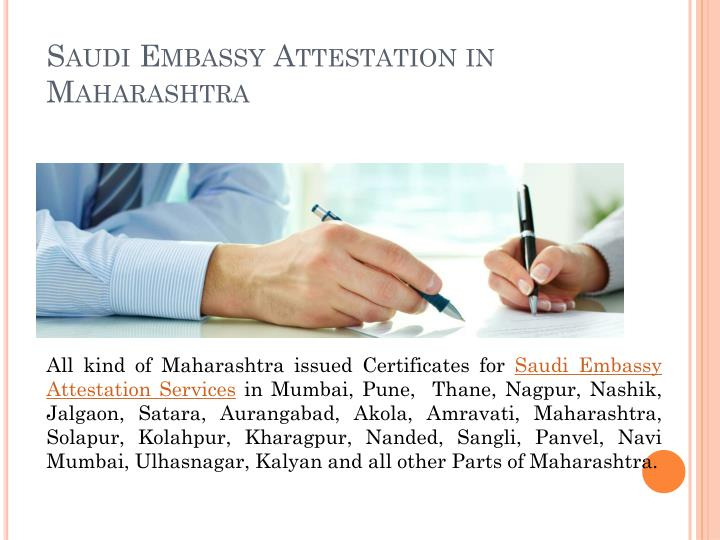Saudi Embassy Attestation in Maharashtra