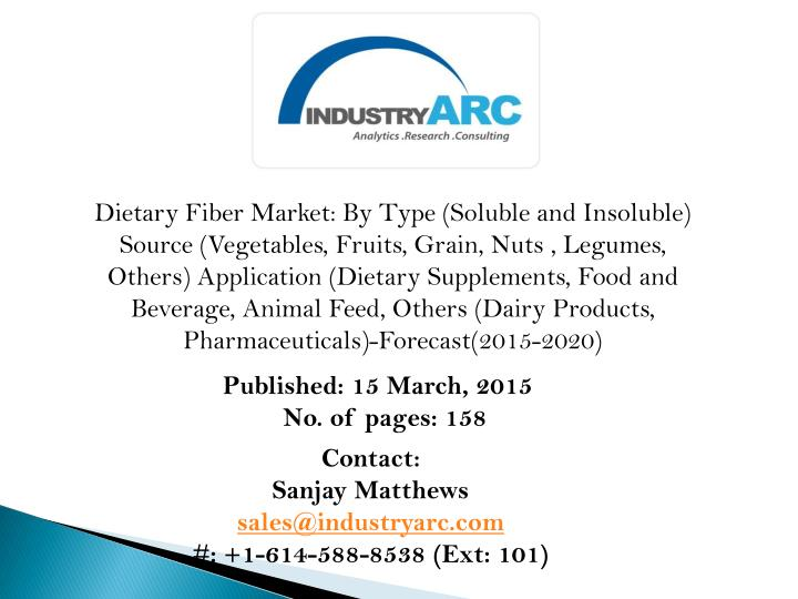 Dietary Fiber Market: By Type (Soluble and Insoluble)