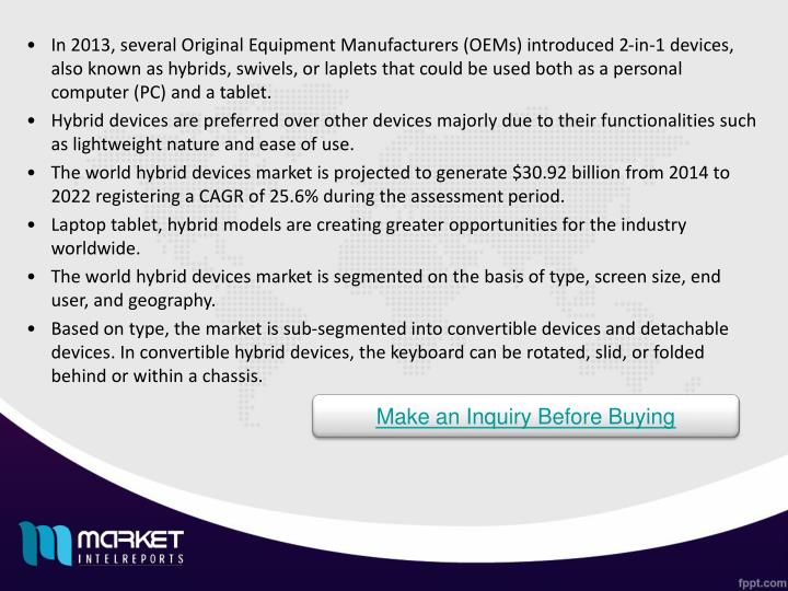 In 2013, several Original Equipment Manufacturers (OEMs) introduced 2-in-1 devices, also known as hybrids, swivels, or laplets that could be used both as a personal computer (PC) and a tablet.
