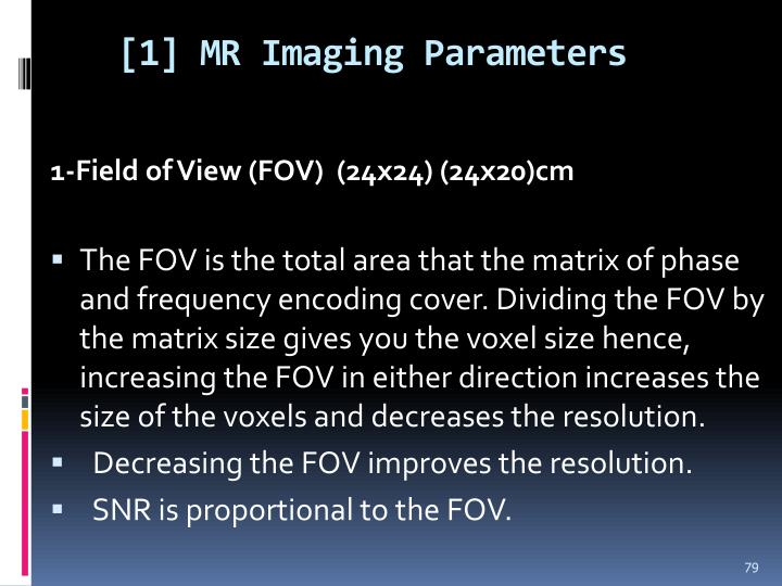 [1] MR Imaging Parameters