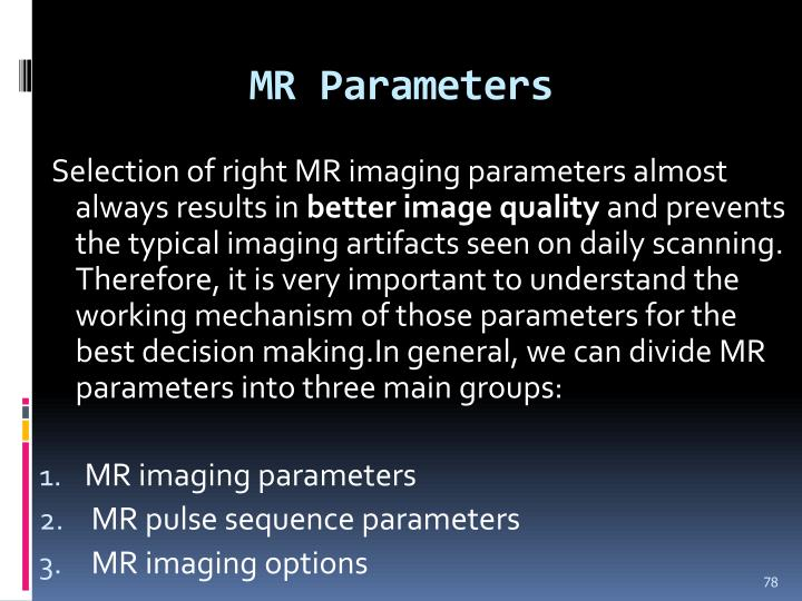 MR Parameters
