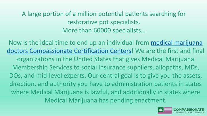 A large portion of a million potential patients searching for restorative pot specialists.
