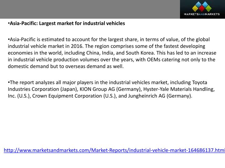 Asia-Pacific: Largest market for industrial vehicles