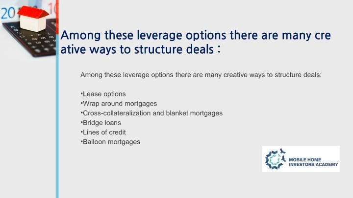 Among these leverage options there are many cre