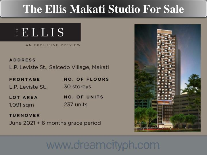 The Ellis Makati Studio For Sale