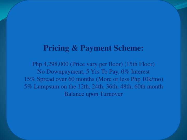 Pricing & Payment Scheme