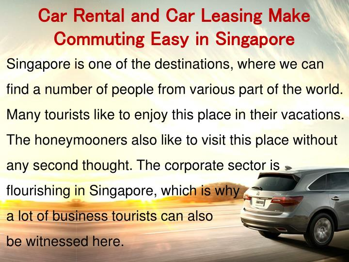 Car Rental and Car Leasing Make Commuting Easy in Singapore