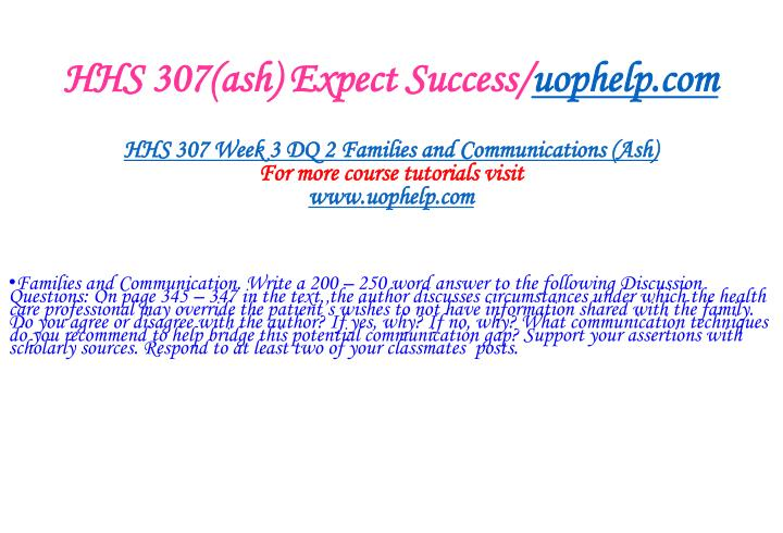 HHS 307(ash) Expect Success/