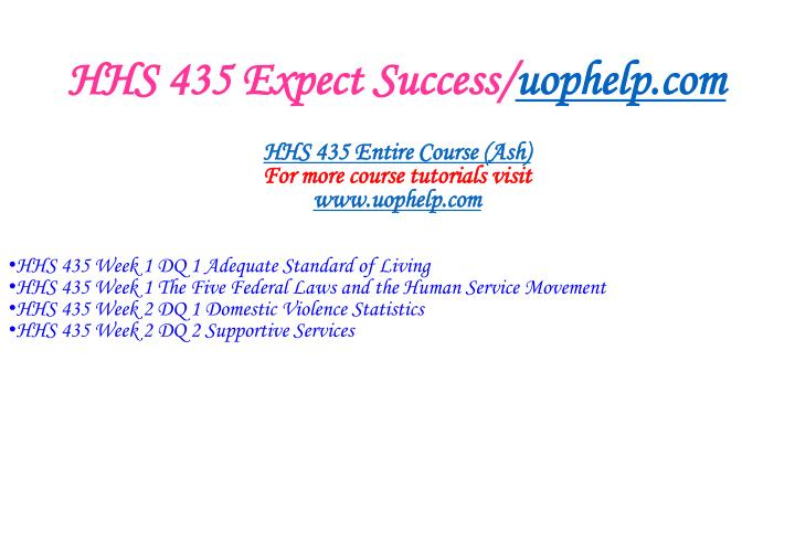 Hhs 435 expect success uophelp com1