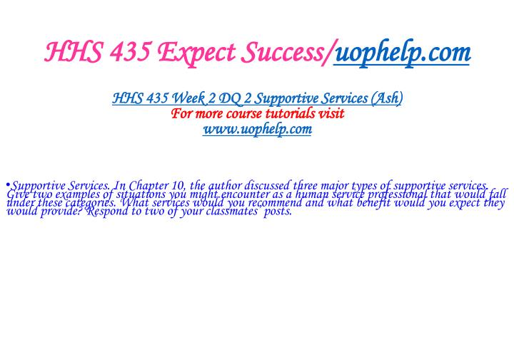 HHS 435 Expect Success/